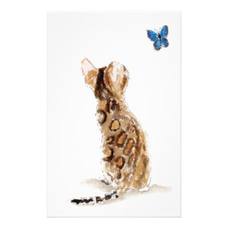 Bengal Cat  & Butterfly Stationery