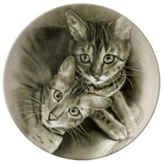 Bengal Cat Couple: Pencil Drawing Porcelain Plates