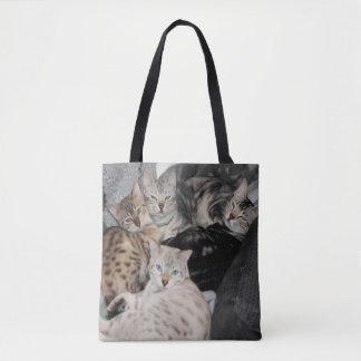Bengal Cat Kitty Pile Tote Bag