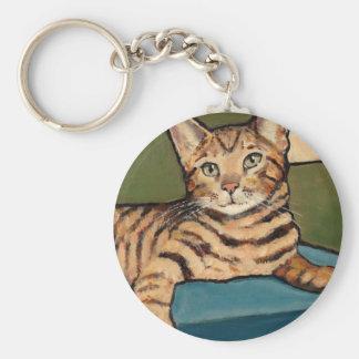 Bengal Cat Looking Up, Original Painting Key Ring