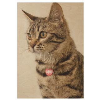 Bengal cat portrait wood poster