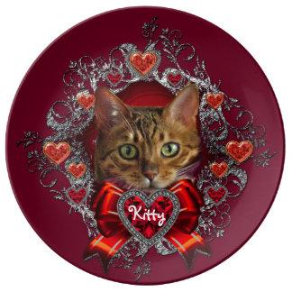 "Bengal Cat Valentine 10.75"" Porcelain Plate"