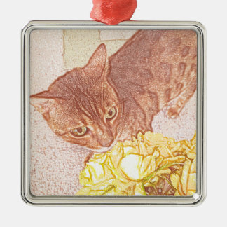 Bengal Cat Yellow Roses Silver-Colored Square Decoration