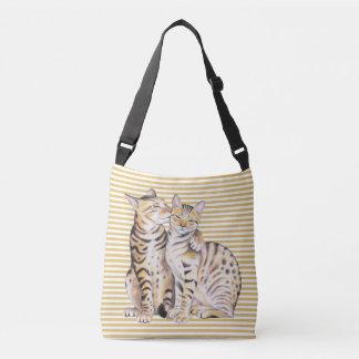 Bengal Cats Ochre Stripes Crossbody Bag