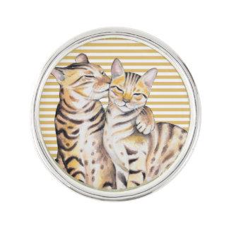 Bengal Cats Ochre Stripes Lapel Pin