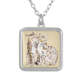 Bengal Cats Ochre Stripes Silver Plated Necklace