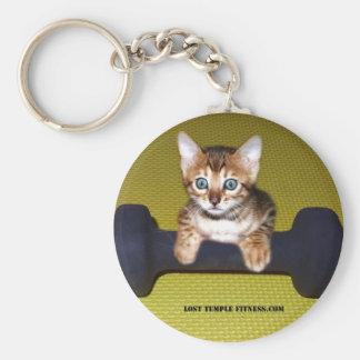 bengal kitten exercising basic round button key ring