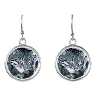 Bengal Kitten Nap Earrings
