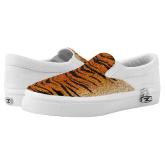 Bengal Tiger Animal Fur Slip On Shoes