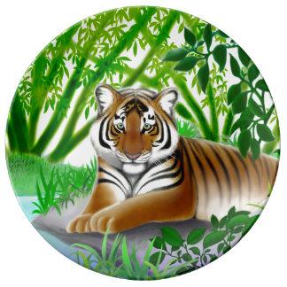 Bengal Tiger at Rest in Jungle Porcelain Plate