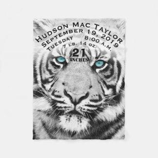 Bengal Tiger Baby Boy Birth Stats White Tiger Fleece Blanket