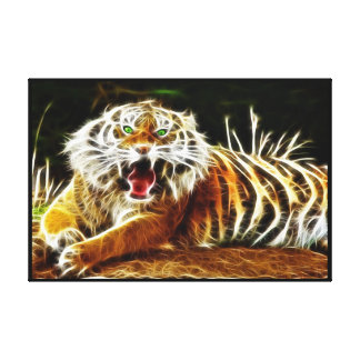 Bengal Tiger Glowing 1 Wrapped Stretched Canvas Print