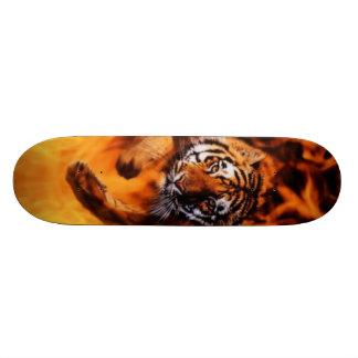 Bengal Tiger Jumping Flames SB Skateboard Deck