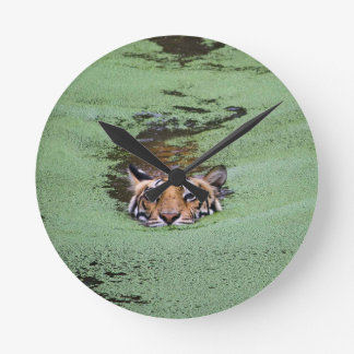 Bengal Tiger Swimming Round Clock