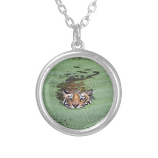 Bengal Tiger Swimming Silver Plated Necklace