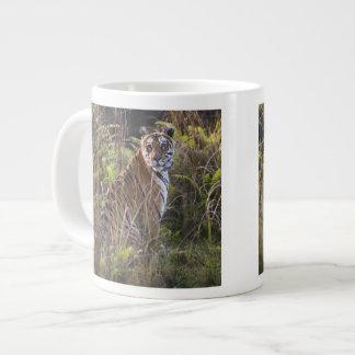 Bengal tigress in tall grass, trying to hunt, jumbo mug