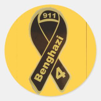 benghazi 4 ribbon round sticker