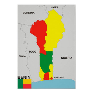 benin country map flag poster