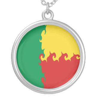 Benin Gnarly Flag Round Pendant Necklace