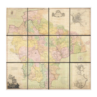 Benjamin Donn Wall Map of Devonshire and Exeter Gallery Wrapped Canvas