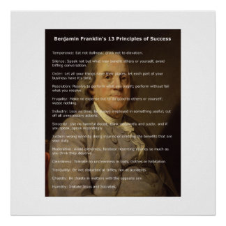 Benjamin Franklin 13 Principles of Success Poster