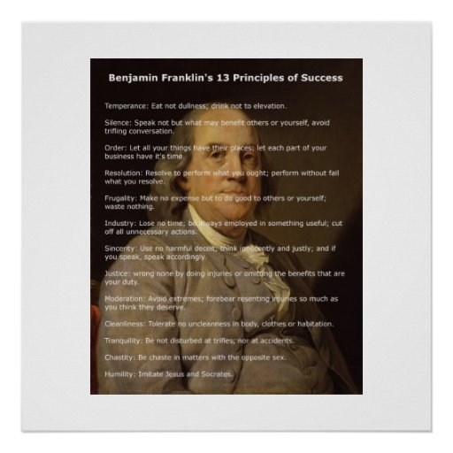 Benjamin Franklin 13 Principles of Success Posters