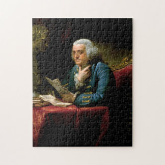 Benjamin Franklin - 1767 Painting by David Martin Jigsaw Puzzle