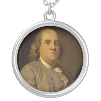 Benjamin Franklin by Joseph-Siffred Duplessis Silver Plated Necklace