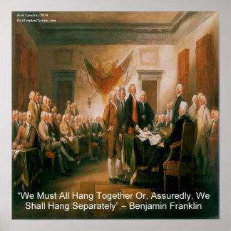 Benjamin Franklin & Declaration Of Independence Poster