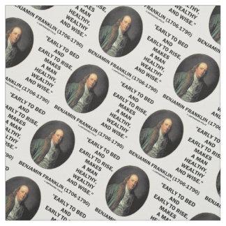 Benjamin Franklin Healthy Wealthy Wise Quote Fabric
