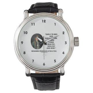 Benjamin Franklin Healthy Wealthy Wise Quote Wrist Watch