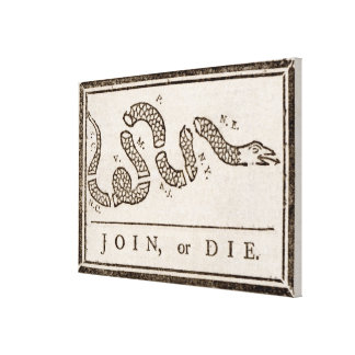 "Benjamin Franklin ""Join or Die"" Cartoon Poster Canvas Print"