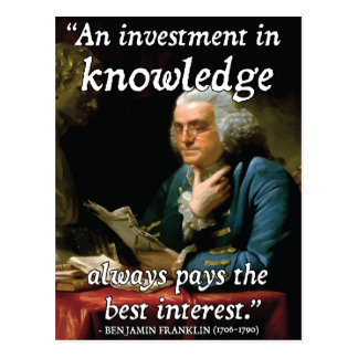 Benjamin Franklin Quote on Knowledge Postcard