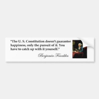 """Benjamin Franklin Quote """"The US Constitution..."""" Car Bumper Sticker"""