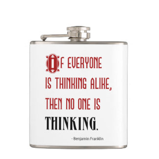 Benjamin Franklin Thinking Quote Flask
