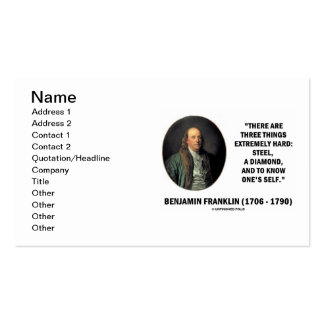 Benjamin Franklin Three Things Extremely Hard Pack Of Standard Business Cards