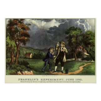 Benjamin Franklin's Kite and Lightning Experiment Poster