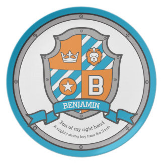 Benjamin letter B name meaning heraldry shield Plate