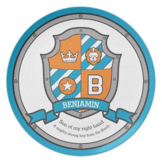 Benjamin letter B name meaning heraldry shield Plate