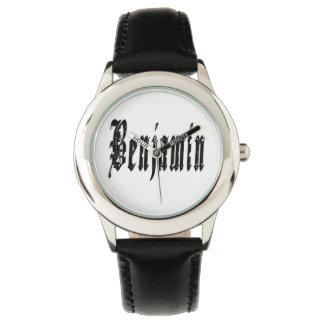 Benjamin, Name, Logo, Boys Black Leather Watch