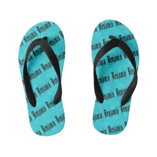 Benjamin, Name Logo, On Aqua Blue Mosaic Kid's Thongs