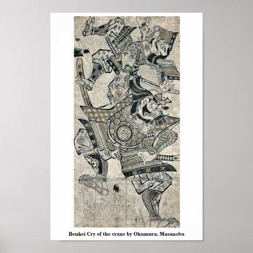 Benkei Cry of the crane by Okumura, Masanobu Posters
