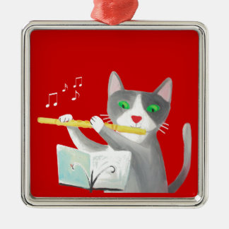 Benny the flute player cat metal ornament