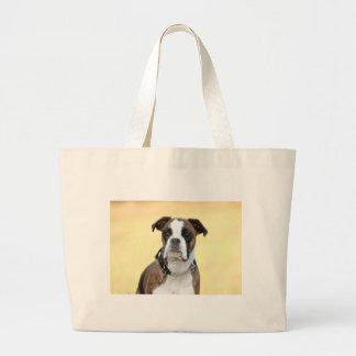 Benson the Boxer dog Large Tote Bag