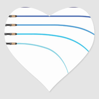 Bent Fishing rod vector curved rod blanks Heart Sticker