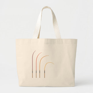 Bent fishing rod vector illustration clip-art tech large tote bag