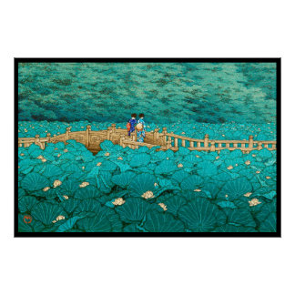 Benten Pond at Shiba Kawase Hasui japanese scenery Poster