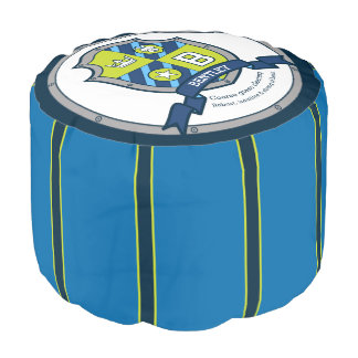 Bentley letter B blue crest boys name meaning pouf