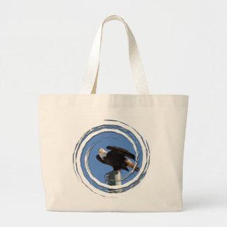 BEOUP Bald Eagle on Utility Pole Jumbo Tote Bag