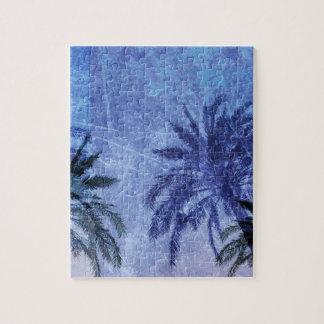 Bercelona Blue Palm tree Grunge Digital Art Design Jigsaw Puzzle